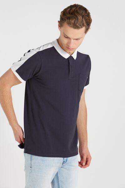 Short Sleeve Panel Polo Regular Fit, NAVY/WHITE