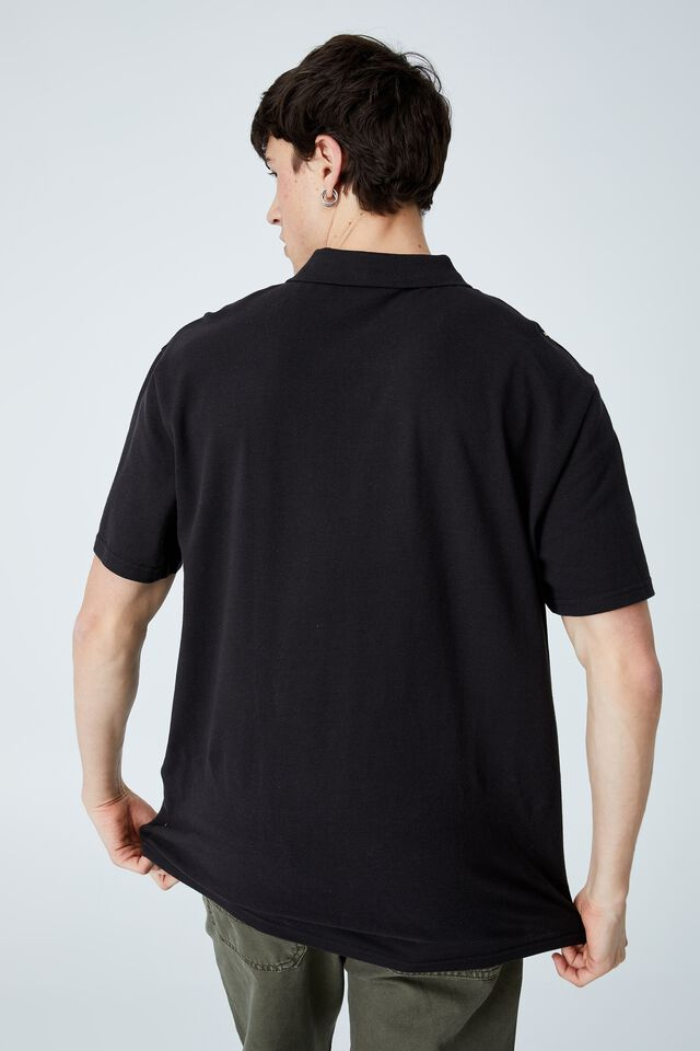 70 S Polo, WASHED BLACK 70s STRIPE