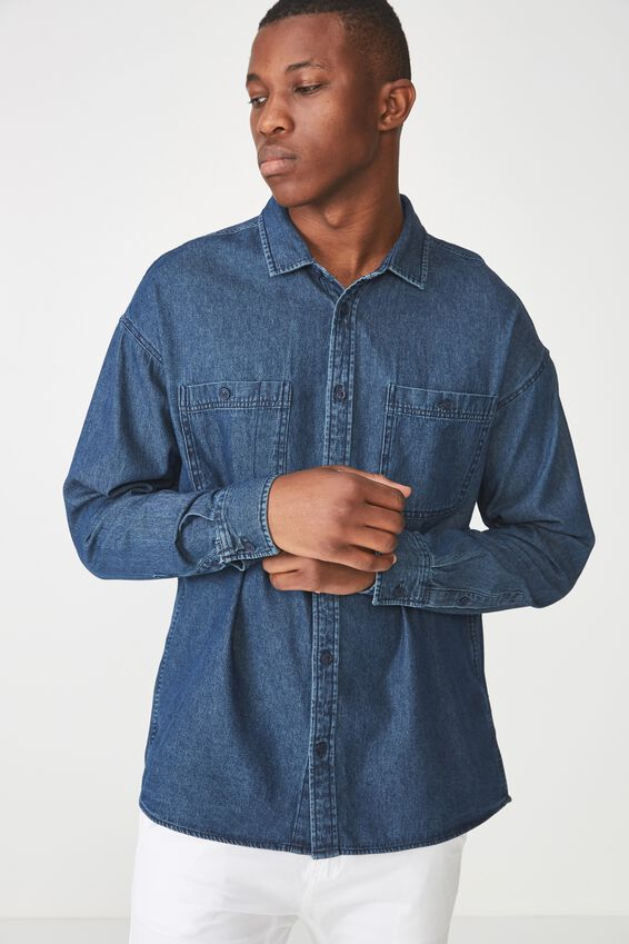 Long Sleeve Workwear Shirt, INDIGO DENIM