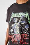 Tbar Collab Music T-Shirt, LCN PRO WASHED BLACK/METALLICA-AND JUSTICE FO