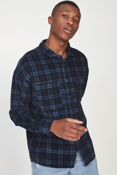 Long Sleeve Workwear Shirt, NAVY CORD CHECK
