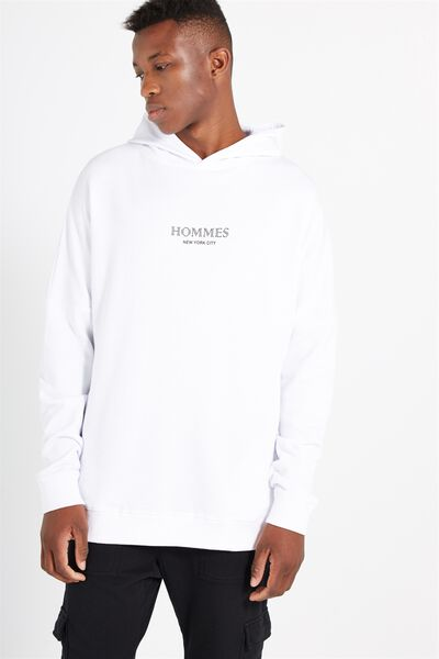 Longline Hooded, WASHED WHITE/HOMMES NYC