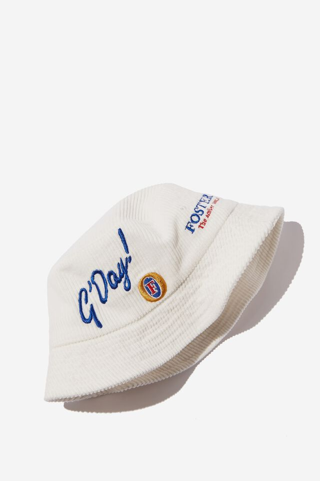 Fosters Bucket Hat, LCN FOS VINTAGE WHITE/FOSTERS GDAY