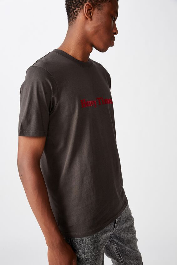 Tbar Text T-Shirt, SK8 WASHED BLACK/HEAVY TIMES