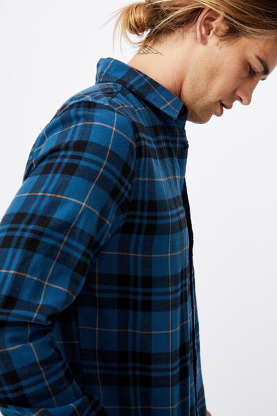 Washed Long Sleeve Light Check Shirt, BLUE CHECK