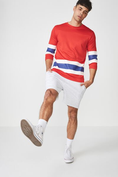 Tbar 3/4 Baseball Tee, STRONG RED/FOOTBALL STRIPE