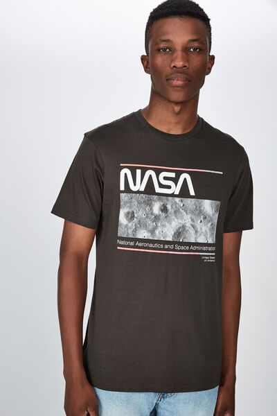 Tbar Collab Pop Culture T-Shirt, LCN NAS WASHED BLACK/NASA - RETRO MOON