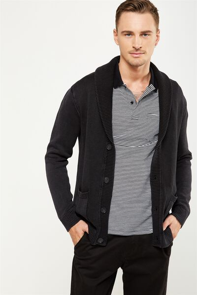 Rugged Cardi Knit, WASHED BLACK