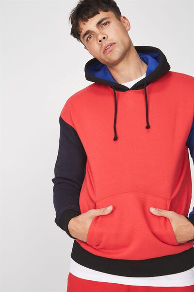 Drop Shoulder Pullover Fleece, BLACK/INK NAVY/STRONG RED/ROYAL BLUE/COLOUR BLOCK