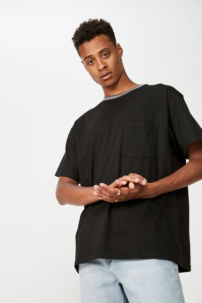 Downtown Loose Fit Tee, BLACK/NECK JACQUARD