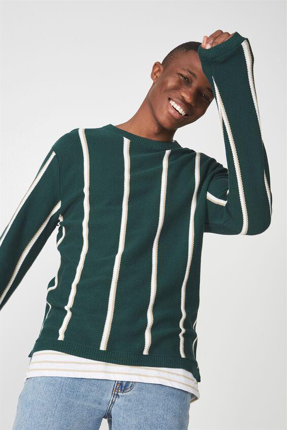 Split Hem Knit, BOTTLE GREEN STRIPE
