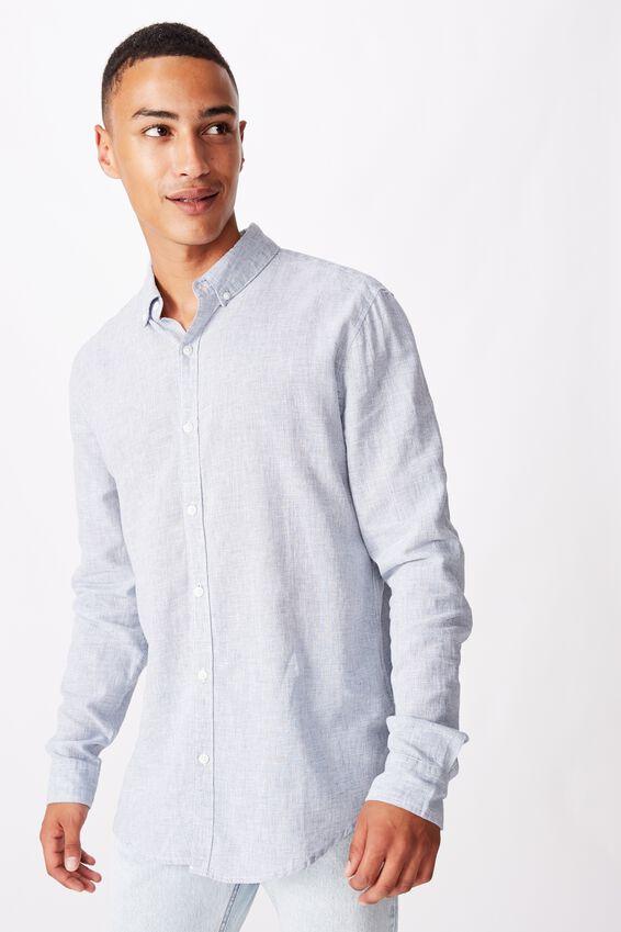 Textured Long Sleeve Shirt, LIGHT BLUE