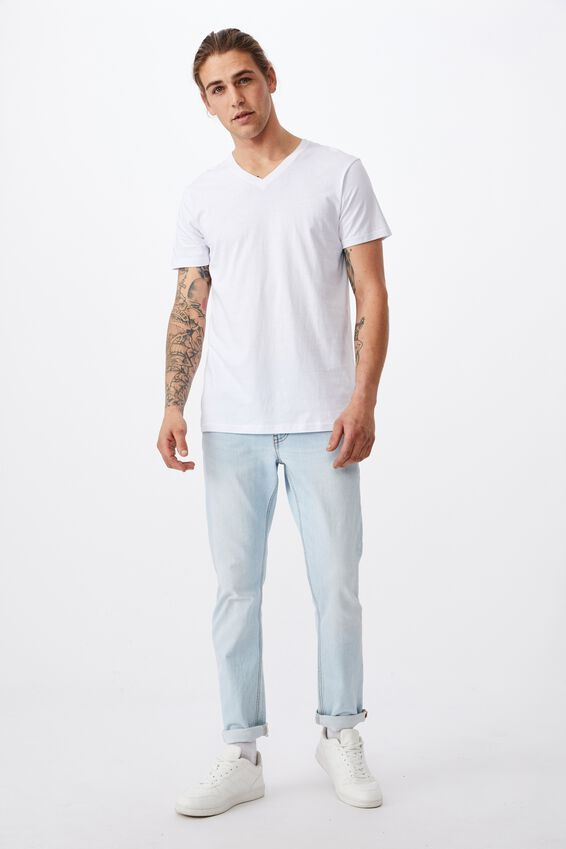 Essential Vee Neck T-Shirt, WHITE