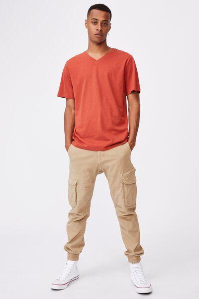 Essential Vee Neck T-Shirt, CINDER ORANGE