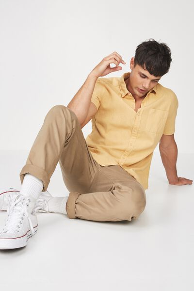 Premium Linen Cotton Short Sleeve Shirt, LIGHT MUSTARD
