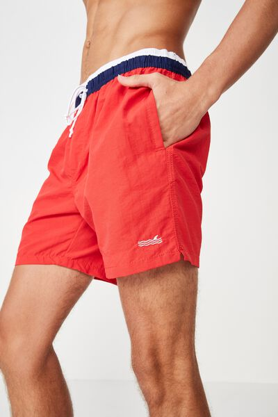 Swim Short, RED/NAVY WAISTBAND