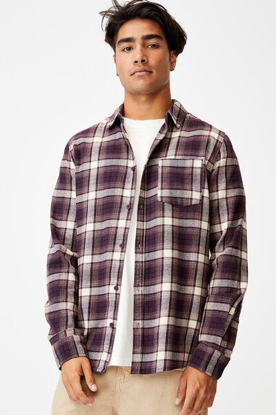 Washed Long Sleeve Check Shirt, BURGANDY SQUARE CHECK