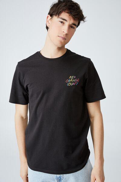 Tbar Collab Icon T-Shirt, LCN BRA WASHED BLACK/REX ORANGE COUNTY-PONY