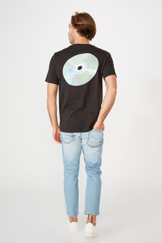 Tbar Collab Pop Culture T-Shirt, LCN PRO WASHED BLACK/COMPACT DISC - FLYING CD