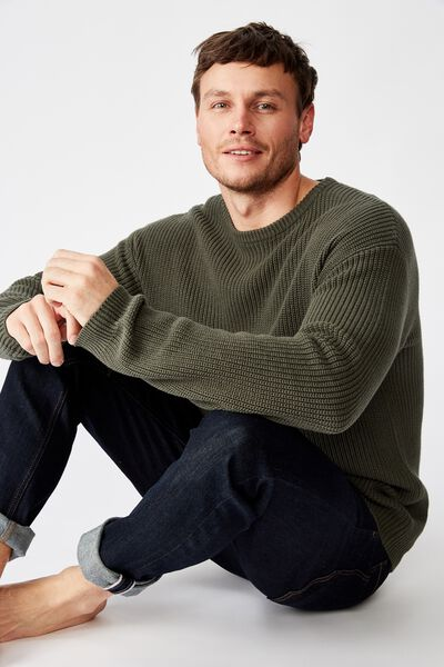 Box Crew Knit, FOREST