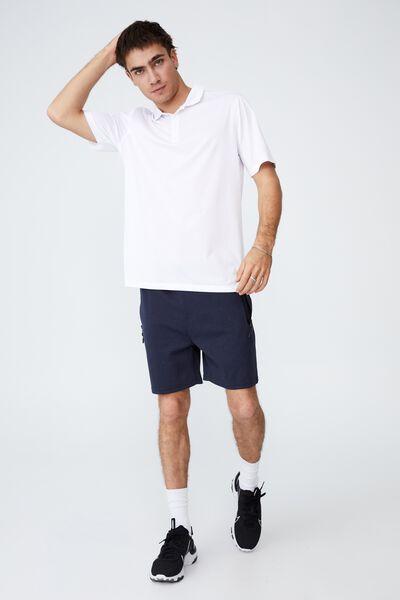Active Short Sleeve Polo, WHITE