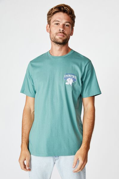 Tbar Collab Movie And Tv T-Shirt, LCN WB FADED TEAL/SCOOBY DOO - SNACKS