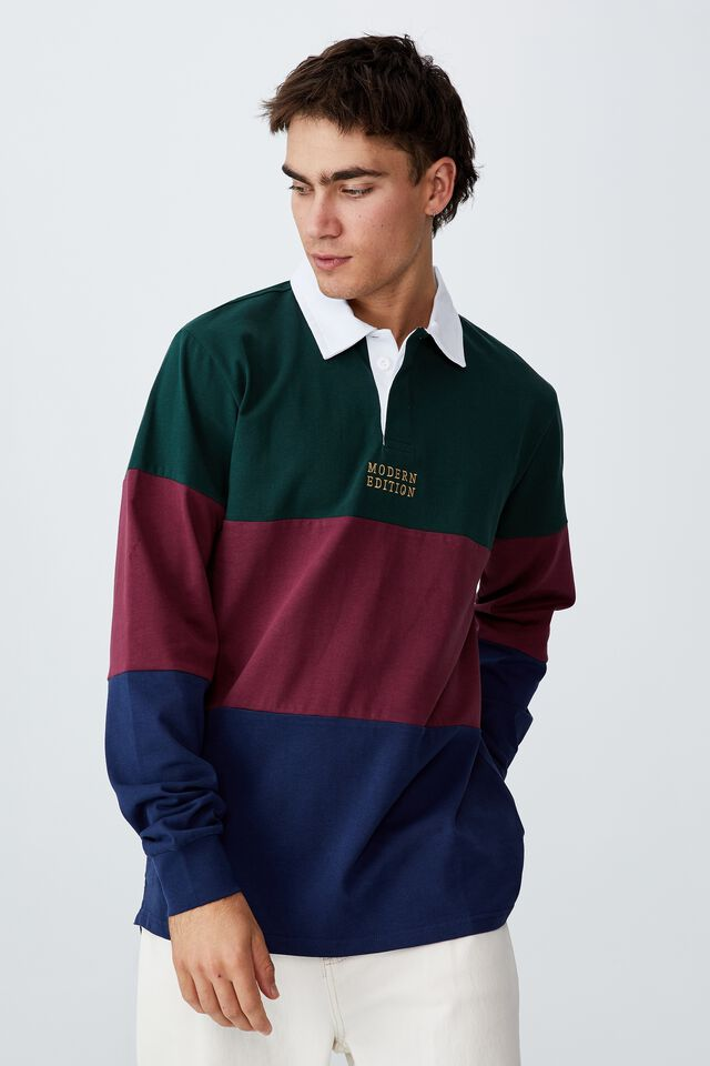 Rugby Long Sleeve Polo, PINENEEDLE GREEN TRI PANEL