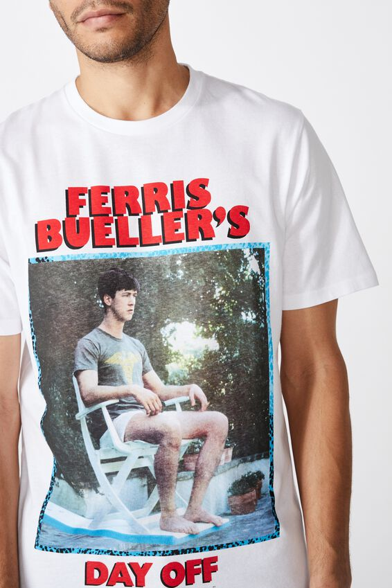 Tbar Collab Movie And Tv T-Shirt, LCN PAR WHITE/FERRIS BUELLERS DAY OFF