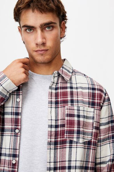 Washed Long Sleeve Check Shirt, WASHED RED CHECK