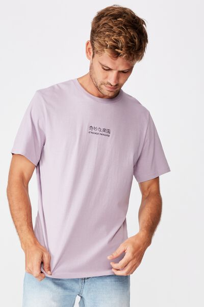Tbar Text T-Shirt, HAPPY LAVANDER/STRANGE PARADISE