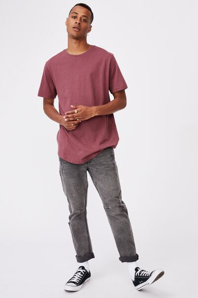 Essential Longline Scoop T-Shirt, AGED WINE