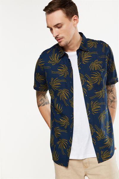 Vintage Prep Short Sleeve Shirt, NAVY YELLOW PALM PRINT