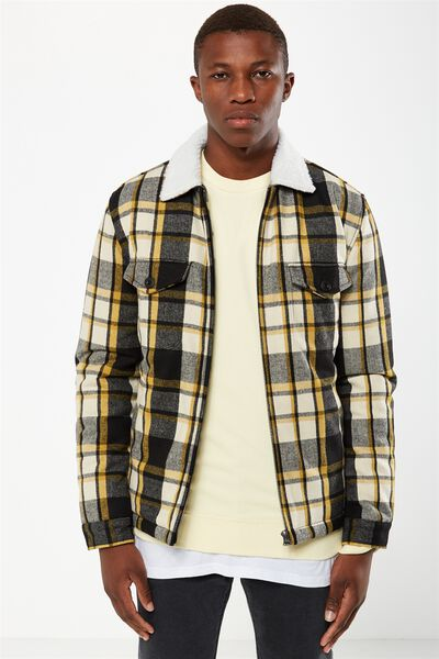Wood Cutter Jacket, BLACK/YELLOW CHECK