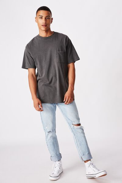Loose Fit Washed Pocket Tee, WASHED BLACK