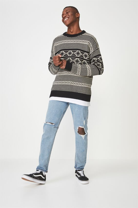 Oversized Crew Knit, CREAM FAIR ISLES