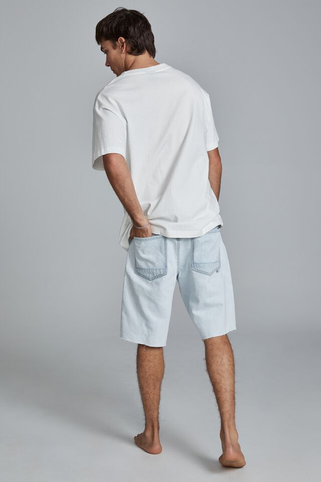 Loose Fit Short, STONE LIGHT BLUE THRASHED REPAIR