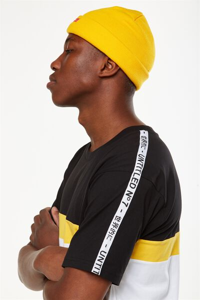 Downtown Loose Fit Tee, BLACK/WHITE/SAFETY YELLOW/NU NOUVEAU TAPE