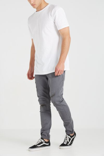 Tapered Leg Jean, GUTTER GREY WITH RIPS AND REPAIR