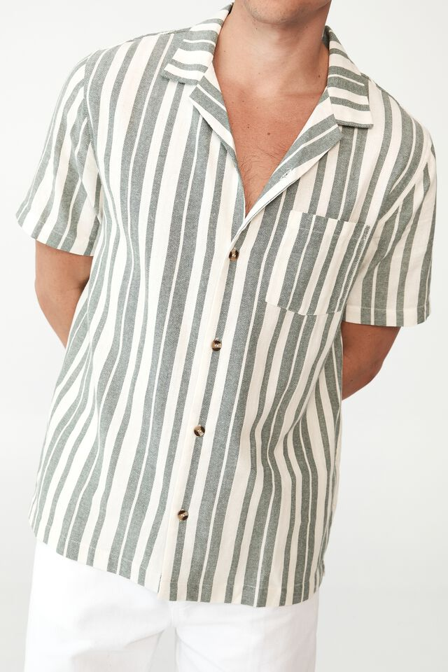 Riviera Short Sleeve Shirt, GREEN BOLD STRIPE