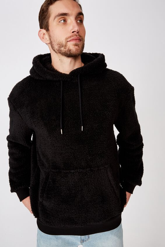 Drop Shoulder Teddy Fleece Hood, BLACK