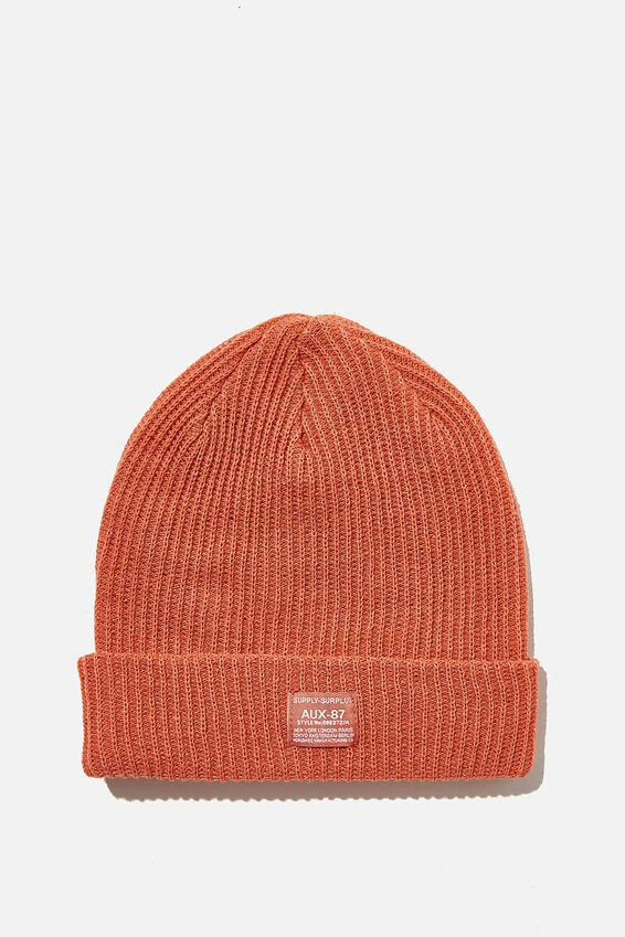 Basic Ribbed Beanie, TAWNY ORANGE/SUPPLY SURPLUS