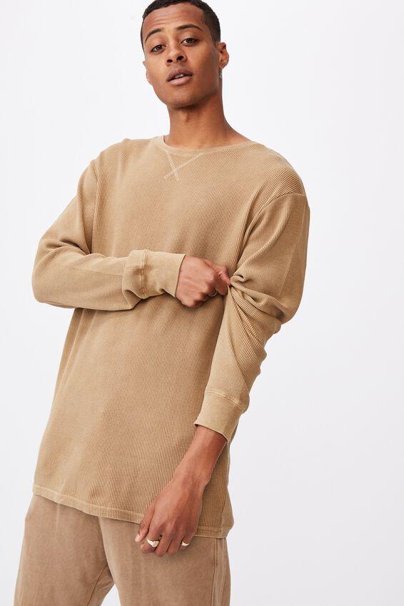 Acid Waffle Long Sleeve T-Shirt, AGED CAMEL ACID