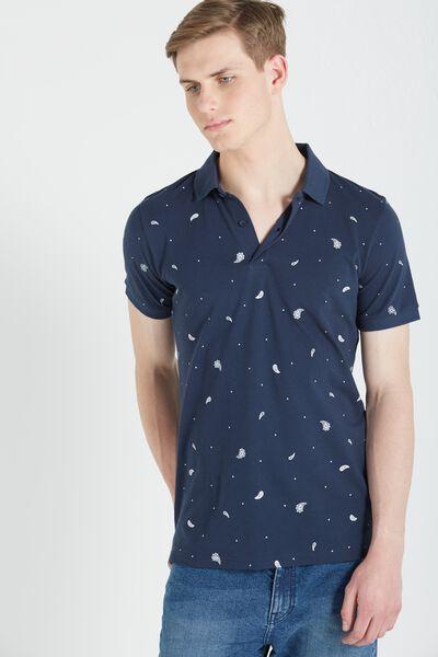 Short Sleeve Prep Polo Slim Fit, NAVY PAISLEY