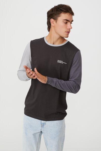 Tbar Long Sleeve T-Shirt, WASHED BLACK BLOCKED