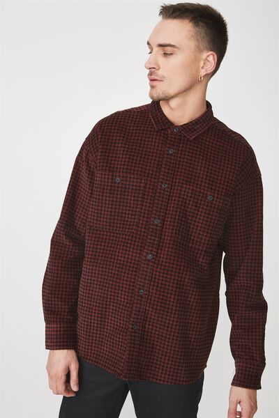 Long Sleeve Workwear Shirt, RED CORD CHECK