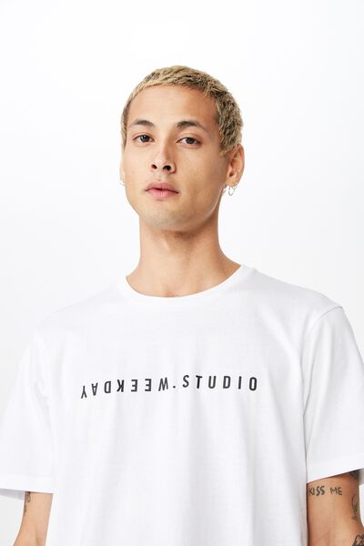 Tbar Text T-Shirt, WHITE/WEEKDAY STUDIO FLIPPED