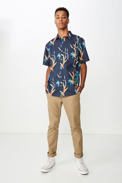 Short Sleeve Resort Shirt, WILD IRIS NAVY