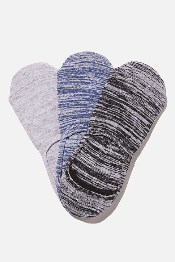 Invisible Socks 3 Pack, TEXTURED BLACK/NAVY/GREY