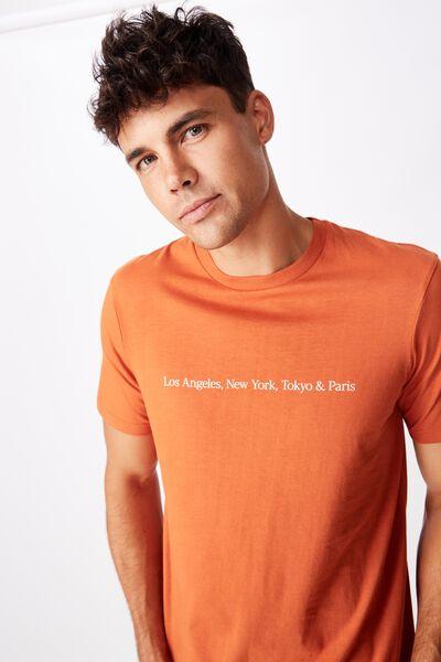 Tbar Text T-Shirt, DIRTY CLAY/TOKYO & PARIS