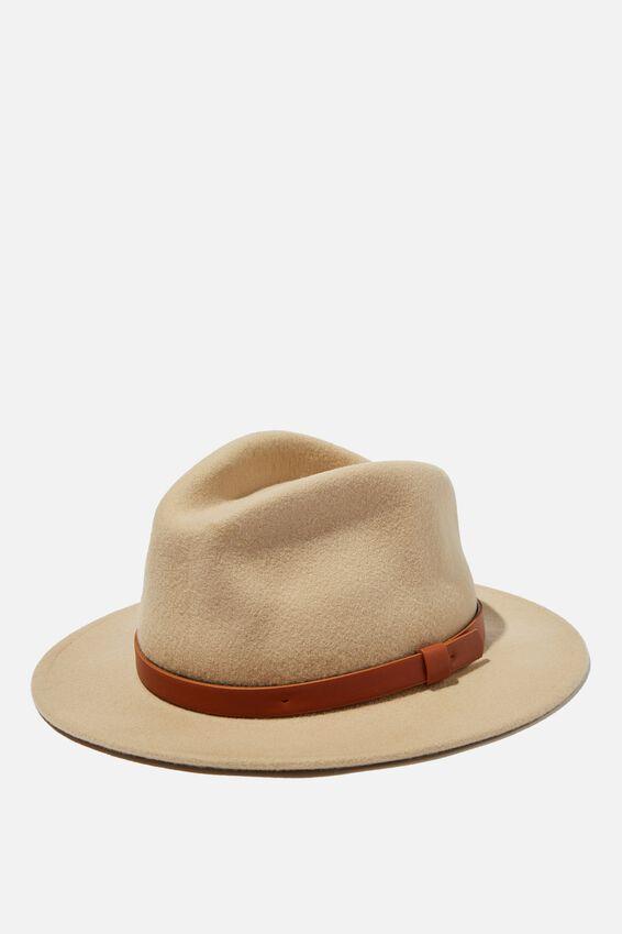Wide Brim Felt Hat, ECRU/TAN